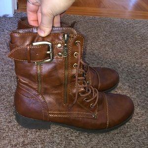 Brown Buckle Combat Boots